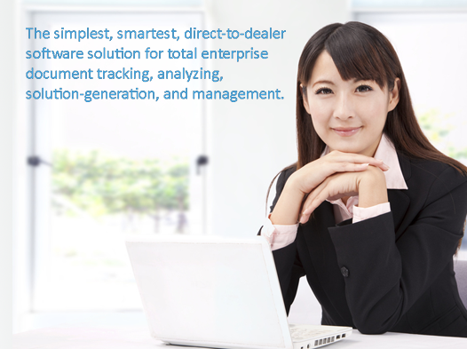 business woman at laptop, text: direct-to-dealer software solution for total enterprise document tracking, analyzing, solution-generation, and management.