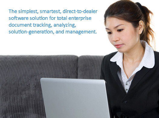business woman at a laptop, text: direct-to-dealer software solution for total enterprise document tracking, analyzing, solution-generation, and management.